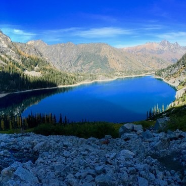 Colchuck lake from above- Enchantment Lakes Thru-Hike