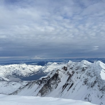 Spirit Lake and Mt. Rainier from the St. Helens summit- Mount St. Helens: Worm Flows Snowshoe