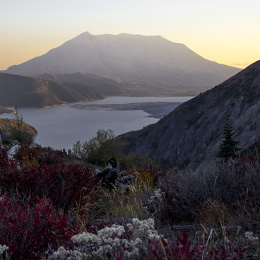 Sun setting over Spirit Lake and Mt St Helens- Mount Margaret via Norway Pass