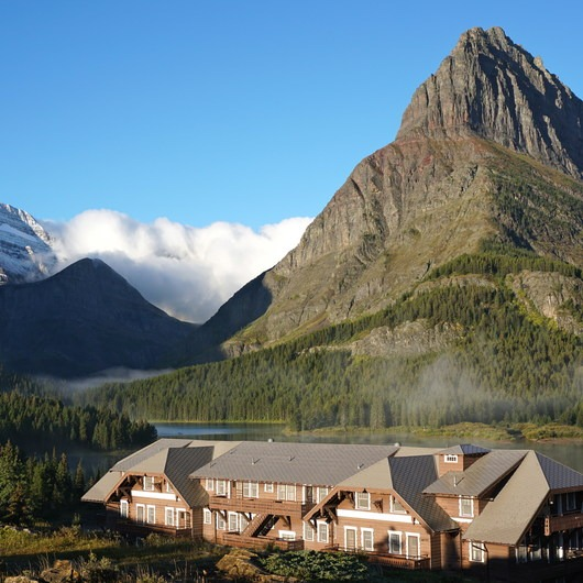 Many Glacier Hotel + Swiftcurrent Lake