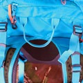 Close-up top view featuring the somewhat unhelpful slack strap slips.- Gear Review: Kathmandu Voltai 40L Pack