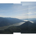 Panoramic view looking west down the Columbia River Gorge.- Dog Mountain Hiking Loop