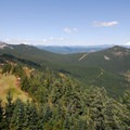 View looking northeast with Mount Adams (12,280') in the distance.- Table Mountain