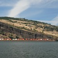 View of Coyote Wall from Mosier, Oregon.- Coyote Wall Hiking Trail