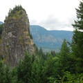 Beacon Rock, viewed from the State Park's upper picnic area.- Beacon Rock Hike