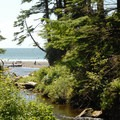 View over Short Sand Creek toward Short Sand Beach and Smuggler Cove.- Cape Falcon Hike