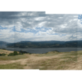 Panorama looking southeast over the Columbia River Gorge.- Coyote Wall Hiking Trail