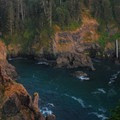View over Hart's Cove toward Chitwood Creek Falls, which is merely a trickle in early fall.- Hart's Cove