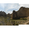 Panoramic view of Smith Rock and the Crooked River.- Smith Rock, Misery Ridge Hiking Trail