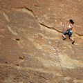 Climber on the Picnic Lunch Wall.- Smith Rock, Misery Ridge Hiking Trail