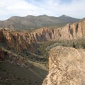 View down a switchback on the Misery Ridge Trail.- Smith Rock, Misery Ridge Hiking Trail