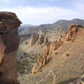 View looking northwest toward the natural pillar, Monkey Face.- Smith Rock, Misery Ridge Hiking Trail
