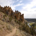 Heading down on the Mesa Verde Trail to connect with the River Trail.- Smith Rock, Misery Ridge Hiking Trail