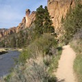 View of the east side of Smith Rock, along the Crooked River.- Smith Rock, River Trail Hike