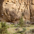 View across the river toward Rope-de-Dope climbing area.- Smith Rock, River Trail Hike