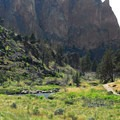 View into the Crooked River Gorge.- Smith Rock, River Trail Hike