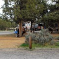 Campground's day-use and eating area.- Smith Rock State Park, Bivouac Campground