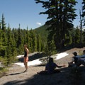 Snack spot with friends.- Moraine Lake in the Three Sisters Wilderness