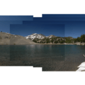 Panoramic view of Moraine Lake and South Sister (10,358').- Moraine Lake in the Three Sisters Wilderness