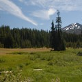 View of Mount Bachelor (9,068') from the Todd Lake Trailhead.- Todd Lake Hike