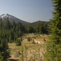 View of Mount Bachelor looking back southeast.- Broken Top Crater Hike