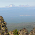 View of Mount Bachelor (9,068'), Broken Top (9,177') and the Three Sisters.- Paulina Peak Hiking Trail