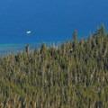 View looking down to the deep opal waters of Paulina Lake.- Paulina Peak Hiking Trail