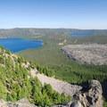 View of Newberry Volcano's caldera, including Paulina Lake, the Big Obsidian Flow, and East Lake.- Paulina Peak Hiking Trail