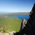 View looking down at Paulina Lake.- Paulina Peak Hiking Trail