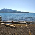 View south from Paulina Lake's northern beach and hot springs.- Paulina Lake Loop Trail + Hot Springs