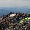 Lunch Counter set up with Mount St. Helens (8,366') in the distance.- Mount Adams: South Climb