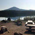 Group campsite and view of Mount Bachelor (9,068').- Elk Lake, Point Campground