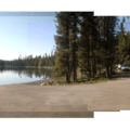 Day use area and boat ramp.- Elk Lake, Point Campground