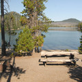 One of several campsites along Elk Lake's south shore and cove.- Elk Lake, Little Fawn Campground