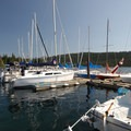Elk Lake Resort marina.- Elk Lake Resort Campground
