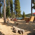The resort's picnic area and bandstand.- Elk Lake Resort Campground