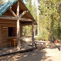 Typical campground cabin.- Elk Lake Resort Campground