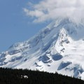 View looking northeast of Mount Hood (11,250') from the Rockpile Viewpoint.- Hunchback Mountain