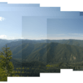 View south of the Salmon-Huckleberry Wilderness from the Great Pyramid viewpoint.- Hunchback Mountain