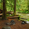 One of the trail's numerous backcountry campsites.- Salmon River, Old Trail