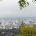 View of downtown Portland from the Pittock Mansion.- Forest Park