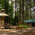 Playground and restrooms near the parking area.- Lacamas Creek Park