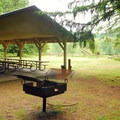 View of one of the park's many picnic shelters.- Oxbow Regional Park