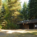 Campground restrooms and lawn.- Milo McIver State Park Campground