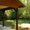 Campground amphitheater area.- Milo McIver State Park Campground