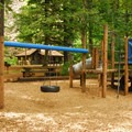 Picnic area and playground near the Hamilton Mountain trailhead.- Beacon Rock State Park