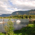 View of Beacon Rock State Park's marina.- Beacon Rock State Park