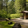 Typical cabin at the main campground.- Silver Falls State Park