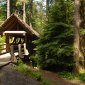 Footbridge near the campground.- Silver Falls State Park Campground