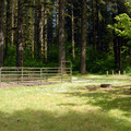 Typical horse stall campsite at the Howard Creek Horse Area.- Silver Falls State Park Campground